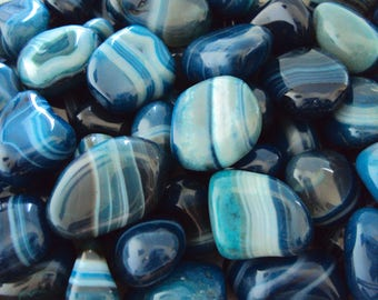 Teal Banded Agate Tumbled Stone | Enhanced Dyed Agate | Healing Stone | Feng Shui | Metaphysical Shop | Altar Stone | Dyed Teal Agate