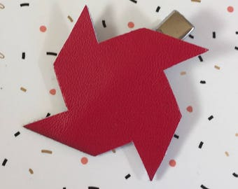 Hair clip red windmill