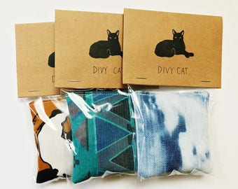 Catnip Toys - Three pack - Handmade with 100% organic catnip & vintage up-cycled fabric