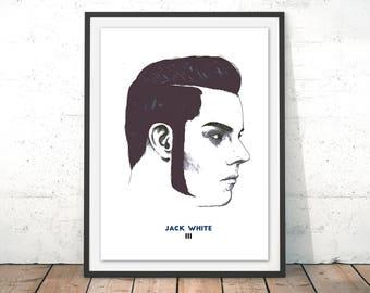 Jack White III Illustration Print - Third Man Records, Art, Drawing, Poster, Musician