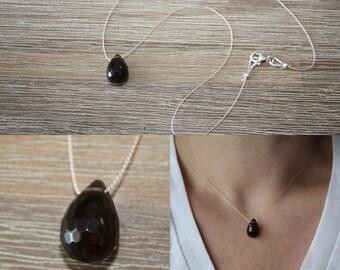 Smoky quartz drop necklace