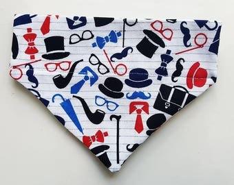 Top Hat, Bow Tie, Moustache Dog Pet Bandana Collar