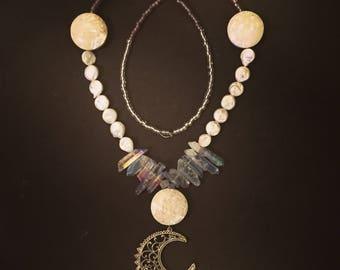 Handmade Beaded Moon Necklace