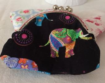 Handmade coin purse elephant multi/pink