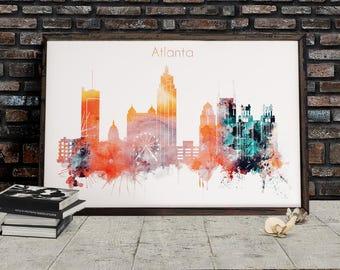 Atlanta City Watercolor Poster, Downloadable Watercolor City Art, Georgia Cityscape, Atlanta home decor, Skyline Digital Download,