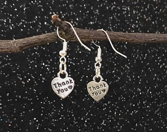 Silver Thank You Charm Earrings ~ Silver Plate Wires, ER105