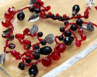 Bohemian Red and Black Crocheted Bead Wrap Bracelet with Silver Charms and Decorative Clasp