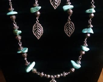Silver Leaf and Turquoise Necklace, Bracelet, and Earring Jewelry Set