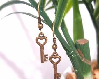 Key to my heart antique gold drop earrings