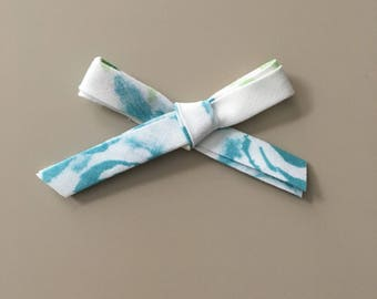 Watercolor fabric bow on one size fits most nylon headband OR alligator clip