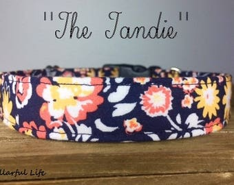 "Navy Coral Yellow White Floral Girly Dog Collar- ""The Tandie"""
