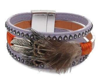 magentic wrap bracelet ith feather accent