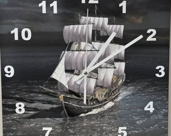 WALL CLOCK SHIP  with Sails Nautical large