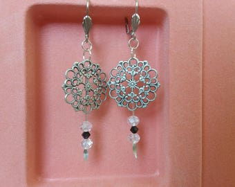 Earrings silver, black stamp, clear Crystal and Swarovski