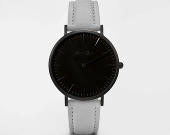 Ladies Watch, Women Leather bracelet, minimalist, gift for her, cheap leather watch, Christmas Watch, Grey Leather (Black/Black)