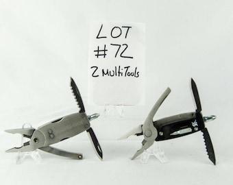 2 Multi Tool Lot # 72 Folding Knives Swiss Tech + More