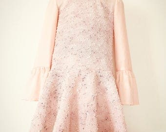 Girl dress with long sleeves, dress for girls made of lace, holiday dress, dress with ruffles, birthday dress, light pink lace dress