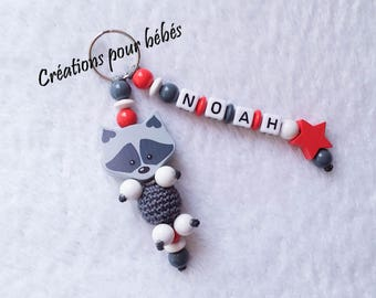 """Keychain 3D """"Raccoon raccoon"""" with wooden beads with the name of your choice"""