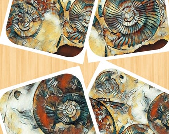 Fossils Greetings Cards Variety Pack of 4 Photo Art Design  by Crannycards Add own message
