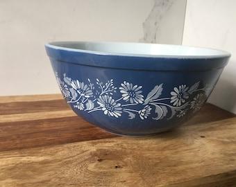 Vintage Pyrex, Colonial Mist Pyrex bowl, Blue Pyrex bowl, Blue Vintage 403 Pyrex Bowl