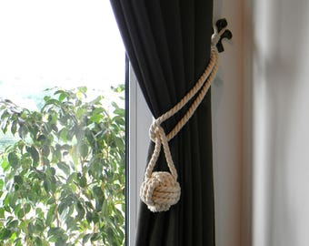 Cotton Rope White (Ivory) Monkey Fist Knot - Nautical Curtain Tie Backs - Shabby Chic - Rustic Tiebacks - Cotton Tiebacks