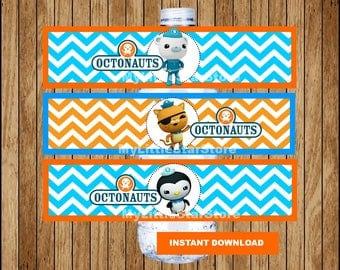 Octonauts bottle labels, Printable Octonauts water bottle labels, Octonauts party water labels Instant download