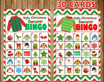 Ugly Christmas Sweater Bingo 30 Cards, Printable Christmas Bingo Game, Game for Ugly Christmas Sweater Party Instant download