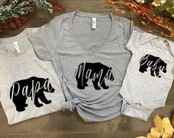 Papa Bear Mama Bear Baby Bear matching t shirts, Fathers day, Mothers day, baby shower, birthday