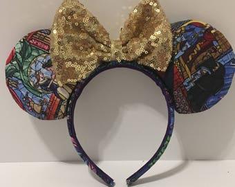 Beauty & the Beast Ears - Stained Glass Ears - Disney Princess Ears - Belle Ears - Belle Minnie Mouse Ears - Mickey Ears