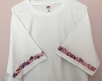 Hand Embroidered Floral T-shirt | Pink and Purple Coloured Flowers on White Shirt