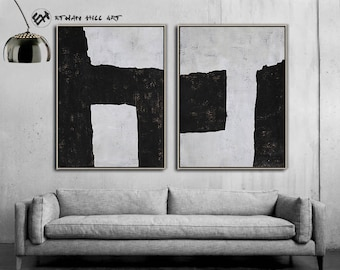 Set of 2 Large Black and White Art Canvas Painting, Minimal Painting Wall Art - Ethan Hill Art No.P14