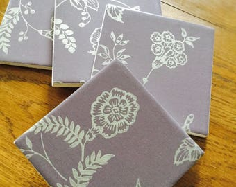 Hand-finished purple floral coaster