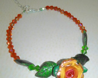 Sterling Silver, Crystal and Polymer Clay Rose Bracelet