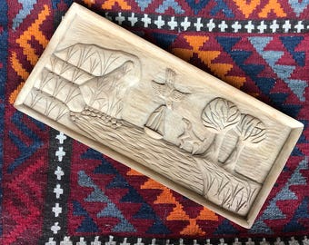 Vintage Wood Carving // Land & Sea Wooden Wall Decor // Hand Carved Wood Plaque