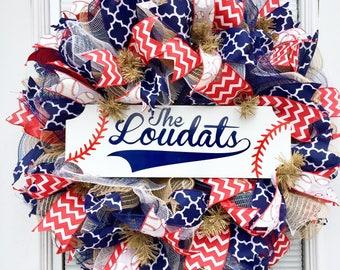 Baseball Deco Mesh Wreath, Baseball Wreath, Softball wreath, Burlap Wreath, Summer Wreath,