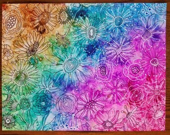 PAINTING: Rainbow Flower Doodles