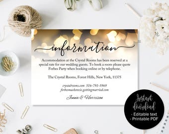 Wedding Guest Details Template, Gold Hearts Wedding Guest Accommodation Information Printable, Wedding Details Card, Wedding Directions
