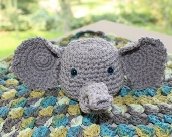 Elephant Lovey Security blanket 100% Cotton