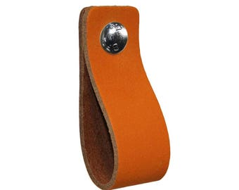 Leather furniture handle,color:orange,kitchen pulls,leather loops,dresser,cabinet,garden items,babyroom pulls,beautifully finished