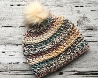 FREE SHIPPING Multi-Colored Bulky Beanie with Faux Fur PomPom