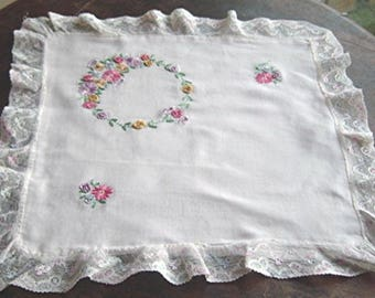 Antique French Pillow Cover Baby Pillow Cover with Hand Embroidered Flowers in Floral Wreath Net Lace Trim with Blue Pink Purple Highlights
