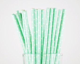 Mint Color  Dots Paper Straws - Mason Jar Straws - Party Decor Supply - Cake Pop Sticks - Party Favor