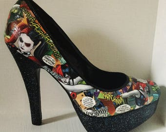 Harley Quinn Heels/Comic Book Shoes/Custom Shoes/Geek Shoes