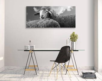 sheep Funny Canvas Black White Animals Panorama Wall Art Picture Home Decor
