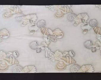 Vintage Sheet Wamsutta Beach Seashells Beige Cream Double Percale
