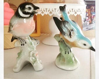 Set of two vintage porcelain birds