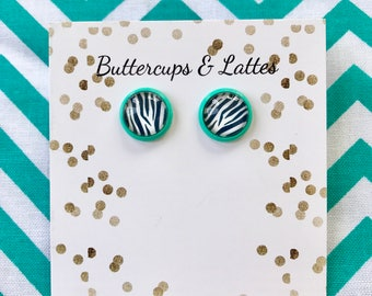 Zebra Print Earrings with Teal Studs 10mm