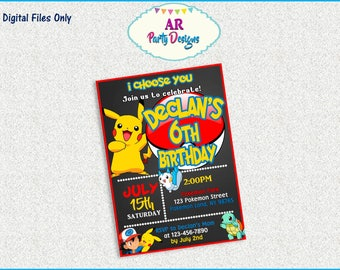 SPECIAL OFFER - Pokemon Invitation - Pokemon Birthday Party - Pokemon Party Invitation - Pokemon Digital Invitation