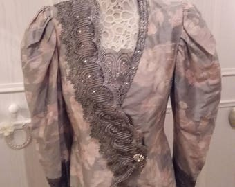 Vintage tunic/jacket Emma Somerset/French Dressing 80s power dressing lace Edwardian steampunk quality statement piece