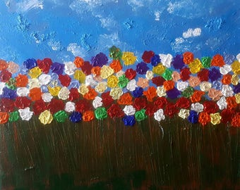 Color Life Painting Still Original  Acrylic Signed Fine Art abstract . .art wall.flowers Multi Color